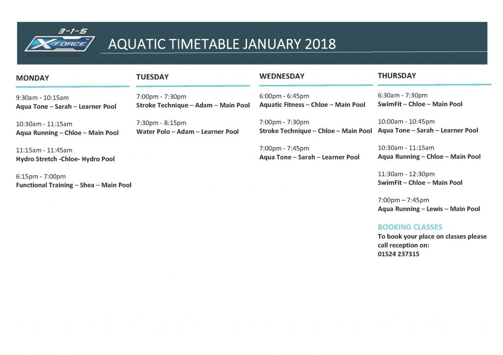 2018 Aquatics Time-Table