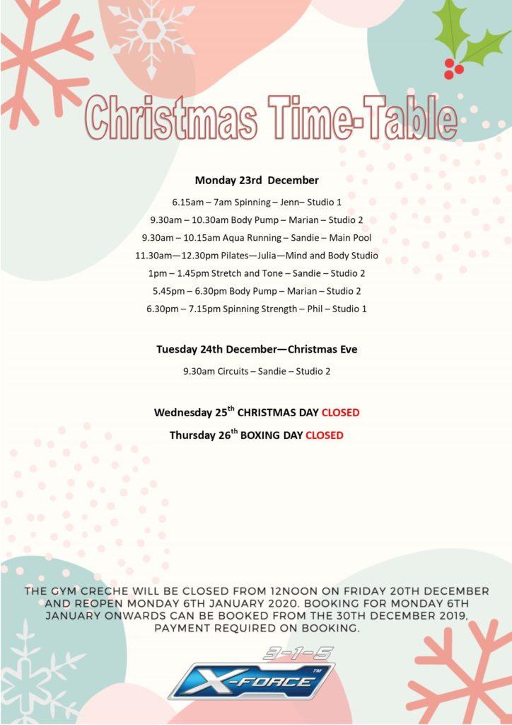 Christmas Group Fitness Time-Table