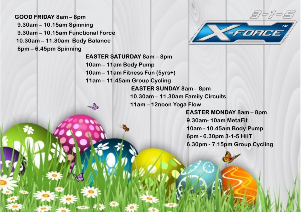 Easter Weekend Opening & Class Time-table