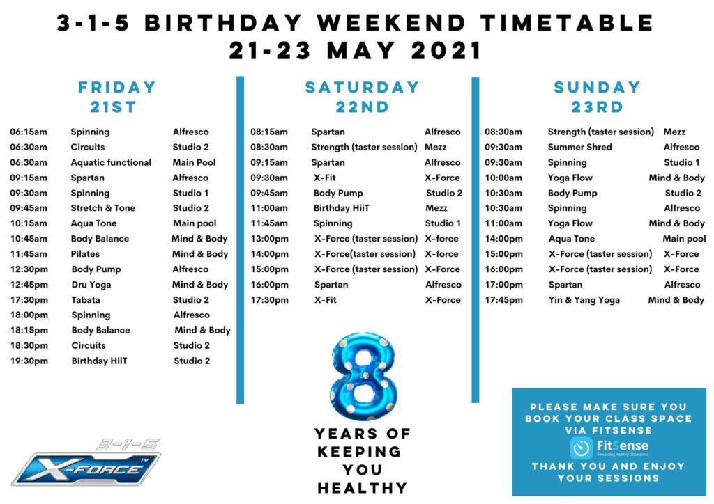 May Birthday Weekend Time Table